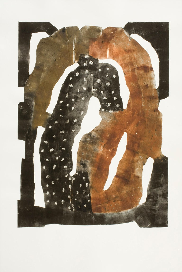 """Harold Wortsman Abstract Print - """"CYCLOPS"""", print, hand-tooled aluminum intaglio, abstract, monotype, framed"""