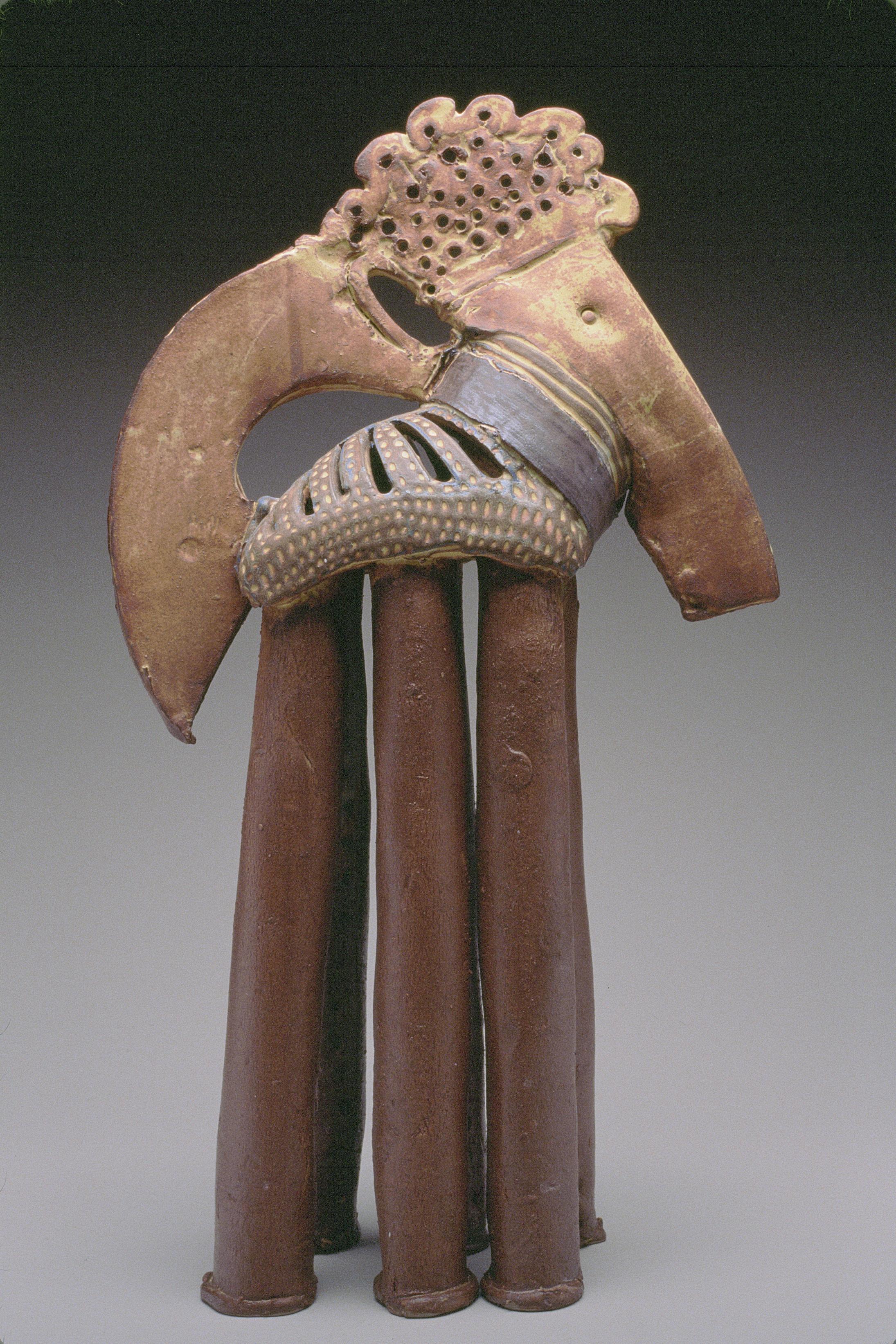 """KING BABAR HORSE"", stoneware clay sculpture, Iron Yellow glaze, storybook"