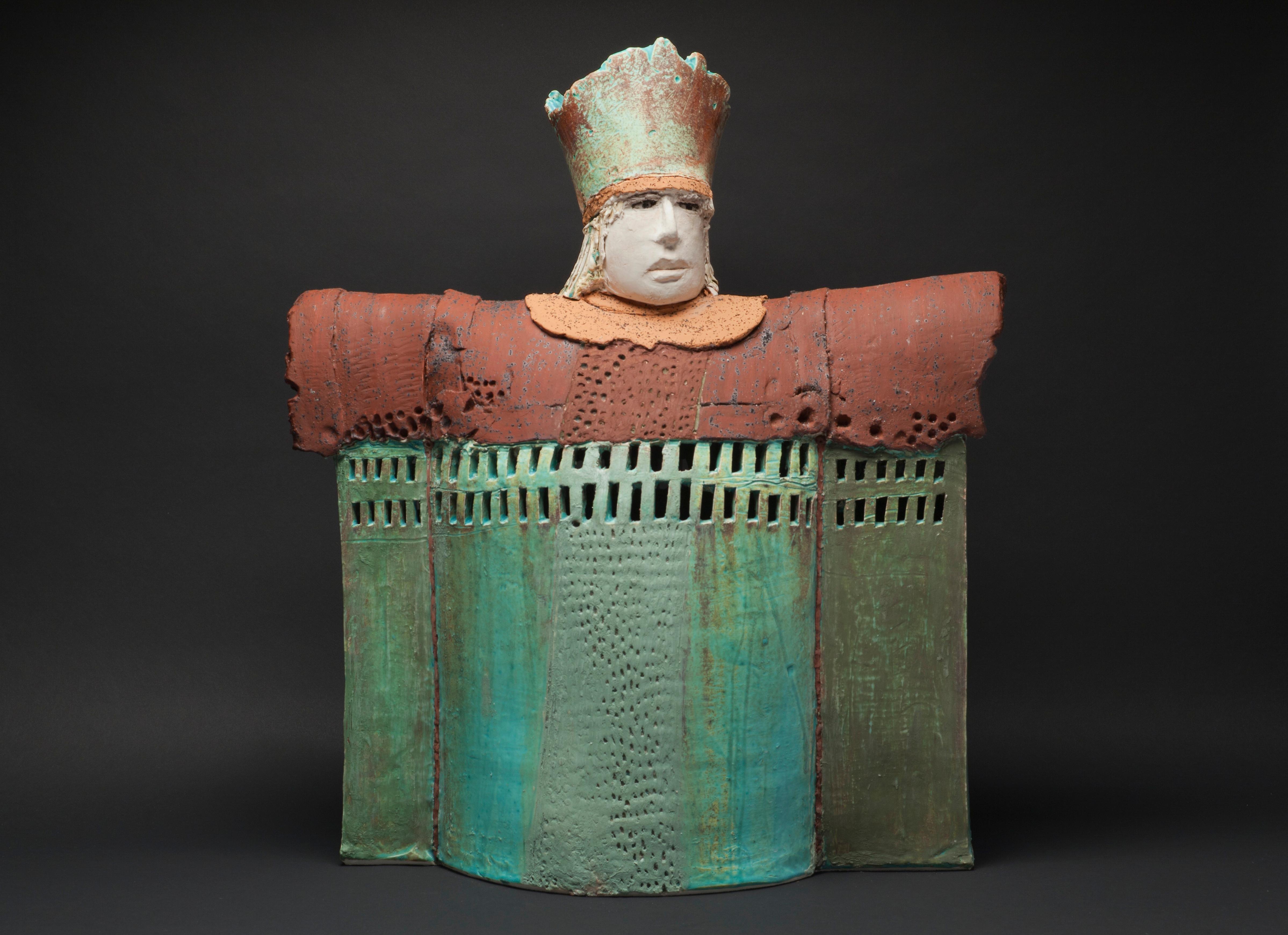"""""""CASTLE CHANCELLOR"""", porcelain clay sculpture, turquoise glaze, royal court"""