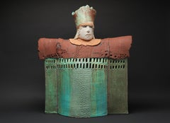 """CASTLE CHANCELLOR"", porcelain clay sculpture, turquoise glaze, royal court"