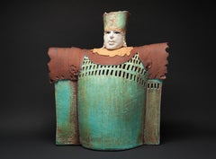 """CASTLE LORD"", porcelain clay sculpture, turquoise glaze, royal court, medieval"