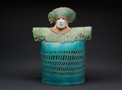 """CHAMBERLAIN"", porcelain clay sculpture, turquoise glaze, royal court, medieval"