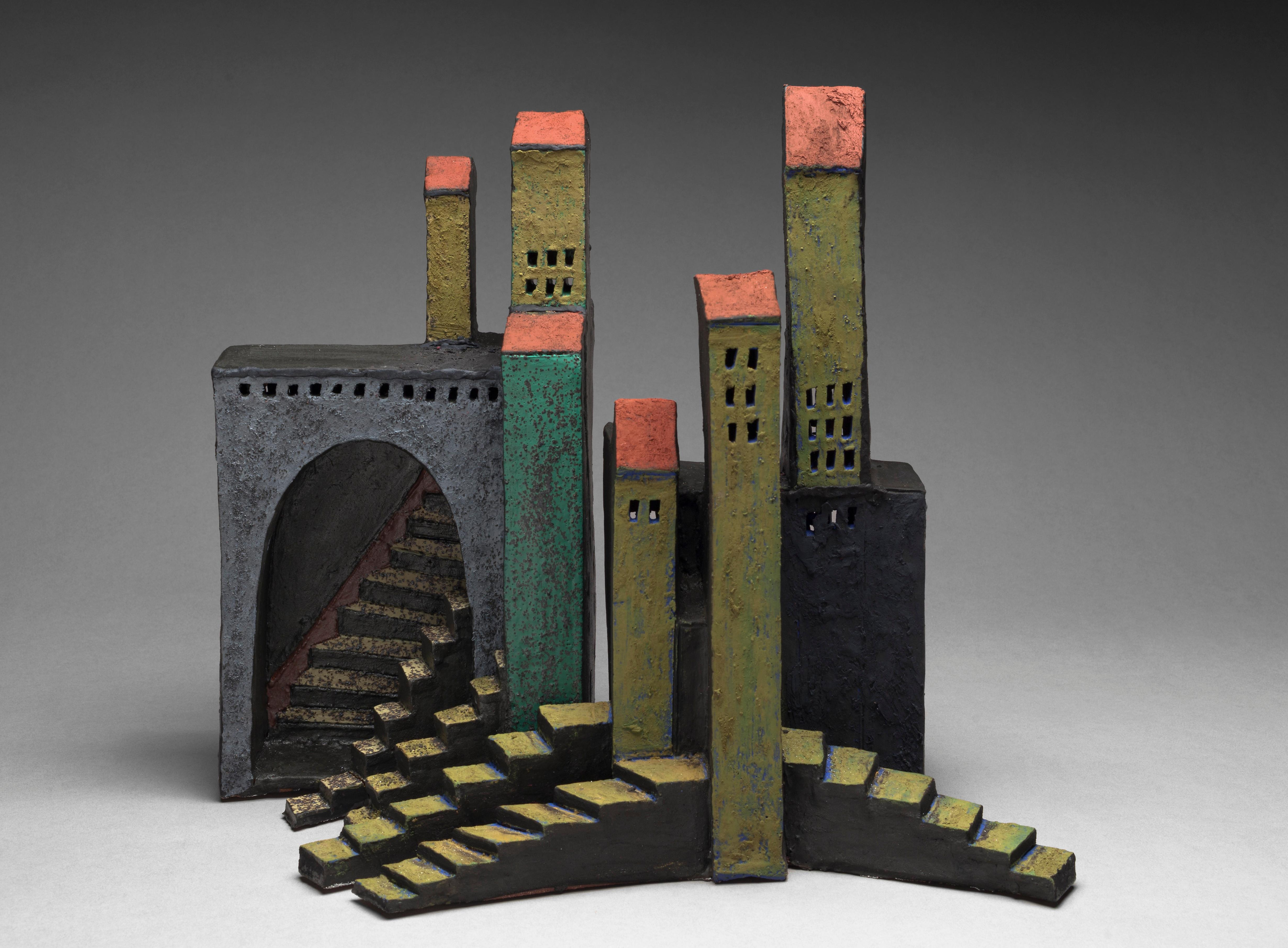 """""""ENDLESS STAIRCASES OF SIENA"""", stoneware clay sculpture, Italy ancient hill town"""
