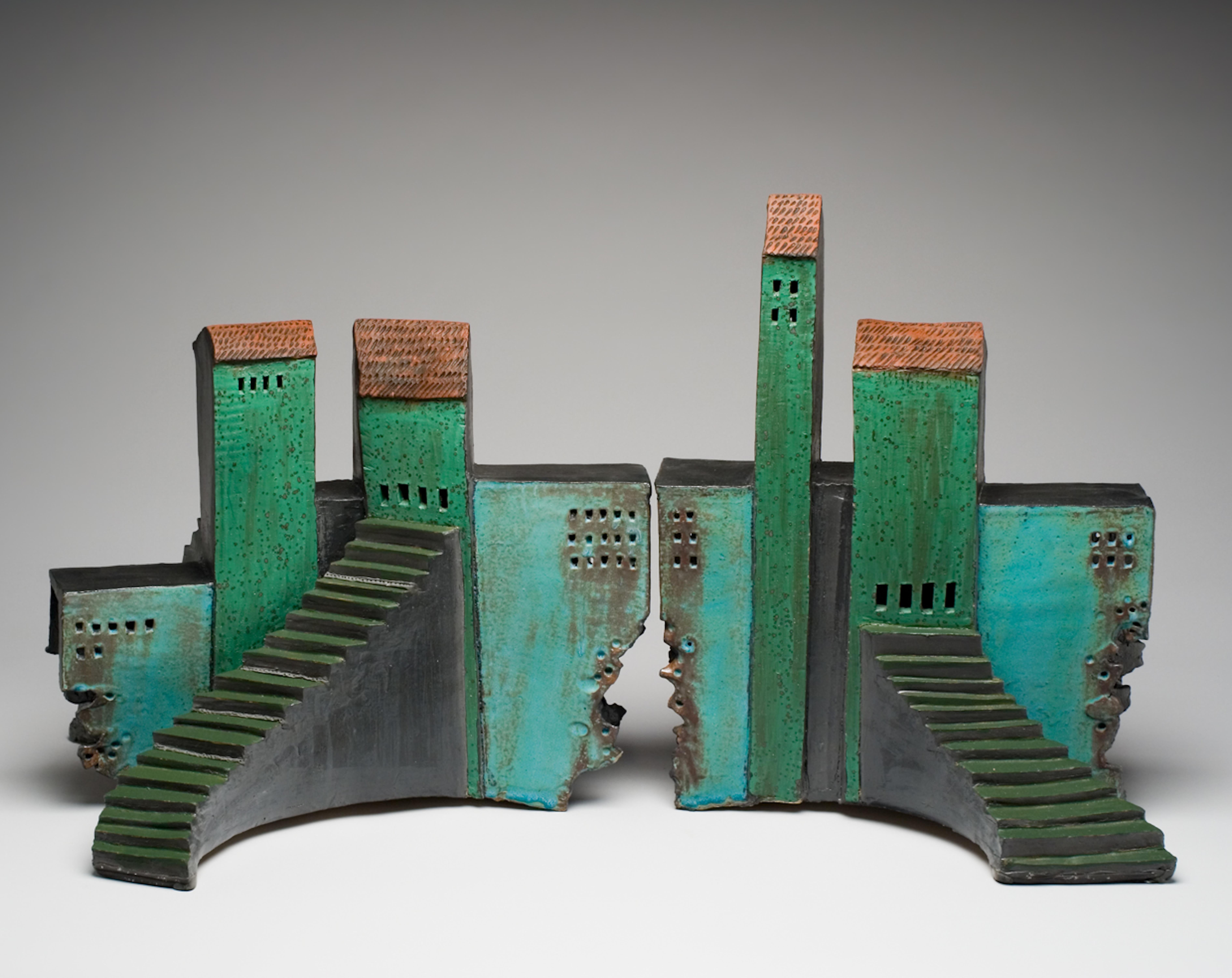 """ROMAN OPERA HOUSE"", stoneware clay sculpture, copper green glaze Italy hilltown"