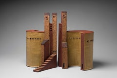 """""""TUSCAN YIN/YANG PRISON"""", stoneware clay sculpture, glaze ancient Italy hilltown"""