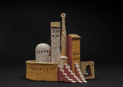 """""""KISSING STAIRS"""", porcelain clay sculpture, ancient Italy hilltown, sand castles"""
