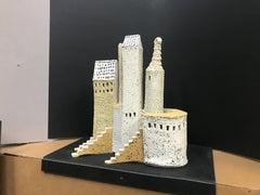 """SUGAR FACTORY"", porcelain clay sculpture, ancient Italy hilltown, sand castles"
