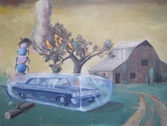 """DESTROY SHE SAID"", painting, surrealist dream, alien, fire, ice, farm, sci-fi"