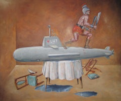 """IN-FLIGHT ADJUSTMENT"", painting, surrealist dream, submarine, gladiator, dove"