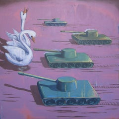 """RIGHT FLANK"", painting, surrealist dream, tanks attack birds, peace, protest"