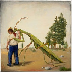 """""""SATURDAY AFTERNOON"""", painting, surrealist dream, giant insect, sci-fi paranoia"""