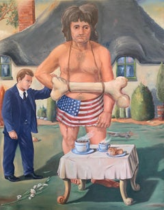 """TOUR GIANT"", surrealist painting, American flag, bone, cottage, cups, storybook"