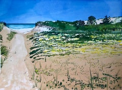 """CAPE COD"", watercolor, sandy beach, ocean shoreline, path, flowers, blue sky"
