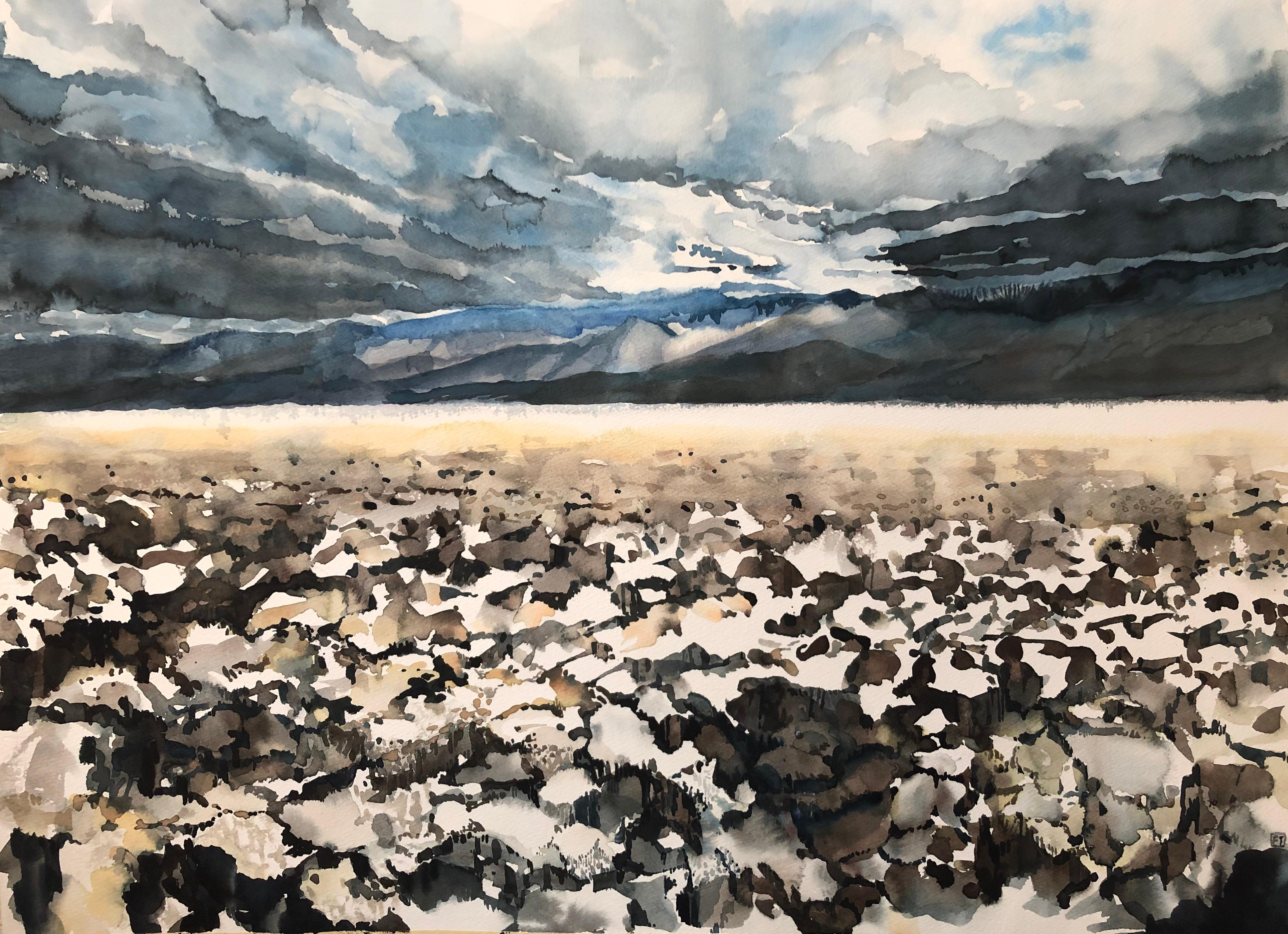 """""""DEATH VALLEY"""", watercolor, mojave desert, Badwater, storm, sky, clouds, salt"""