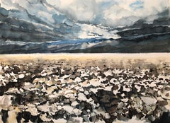 """DEATH VALLEY"", watercolor, mojave desert, Badwater, storm, sky, clouds, salt"