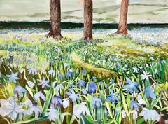 """HOPE"", watercolor, spring, snow flowers, trees, moss, gardens, flora, nature"