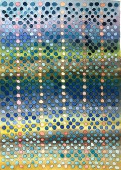 """DOT STUDY #6"", watercolor, dots, pattern, system, bubble wrap, rain, pond light"