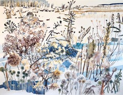 """WINTER MARSH"", watercolor, new england, snow, wild flowers, seeds, water, ice"