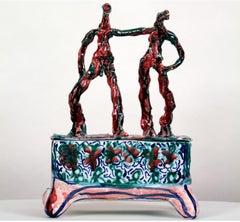 """DESK SET I"", majolica glazed earthenware sculpture, faience, ceramic, tin glaze"