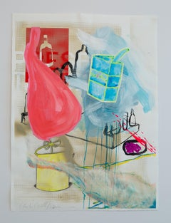 """DRAWING INVENTORY (Jamón y Gasolina)"", acrylic painting, ham, gasoline, collage"