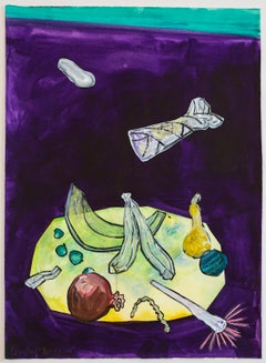 """""""DRAWING INVENTORY (Another Middle-Class Lunch)"""", painting, table, crop, food"""