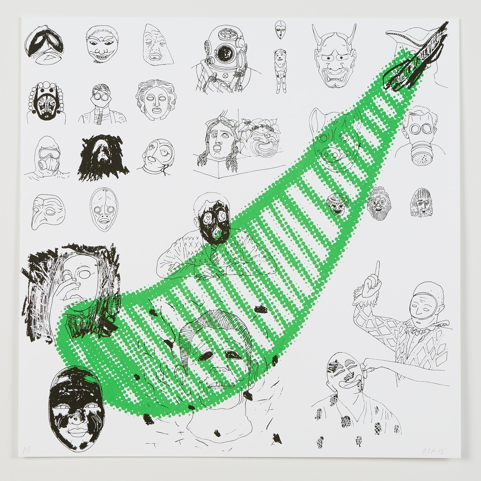 """SS (Masks We Wear)"", silkscreen print, double-sided, cotton rag paper, edition"