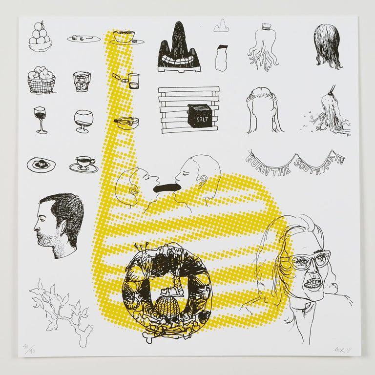 "Andrew Cornell Robinson Still-Life Print - ""4 (Recalculate Your Balance)"", silkscreen print, double-sided, cotton rag paper"