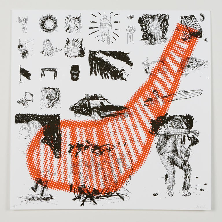 """Andrew Cornell Robinson Still-Life Print - """"D (It's A Riot)"""", silkscreen print, double-sided, cotton rag paper, edition"""