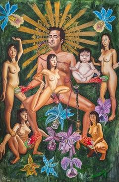 """""""KAMA SUTRA"""", surrealist oil painting, gender, sexuality, vagina dentata, myth"""