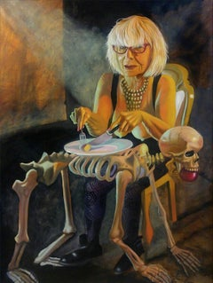 """""""YOU ALWAYS HURT THE ONE YOU LOVE"""", surrealist oil painting, skeleton, family"""