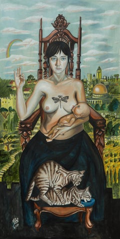 """""""CONTROL"""", surrealist oil painting, breast feeding mother, Jerusalem, cats, baby"""