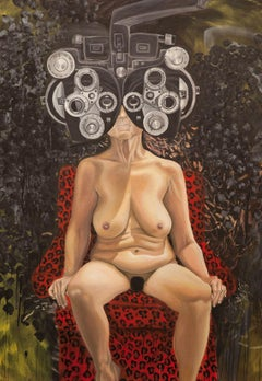 """""""EYE CHECK"""", surrealist oil painting, nude woman, optical lens, machine, mask"""