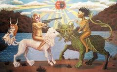 """THE DARK SIDE"", surrealist oil painting, duality, myth, battle, war, beast, sun"