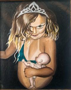 """PROGRAMMED"", surrealist oil painting, gender, femininity, beauty role archetype"