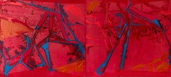 """TEARS OF RAGE"", Abstract Painting, Diptych, Acrylic on Canvas, Red, Blue"