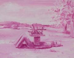 """OFRENDA"", oil painting on panel, offering, deity, statue, sky, altar, rose"