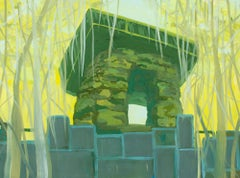 """""""TEMPLE"""", oil painting on panel, refuge, home, shelter, faith, migration, peace"""