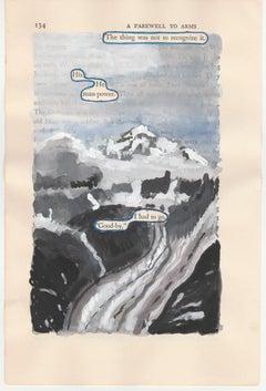 """""""#134 – HE-MAN POWER"""", ink, pencil, gouache, vintage book, hemingway, poetry"""