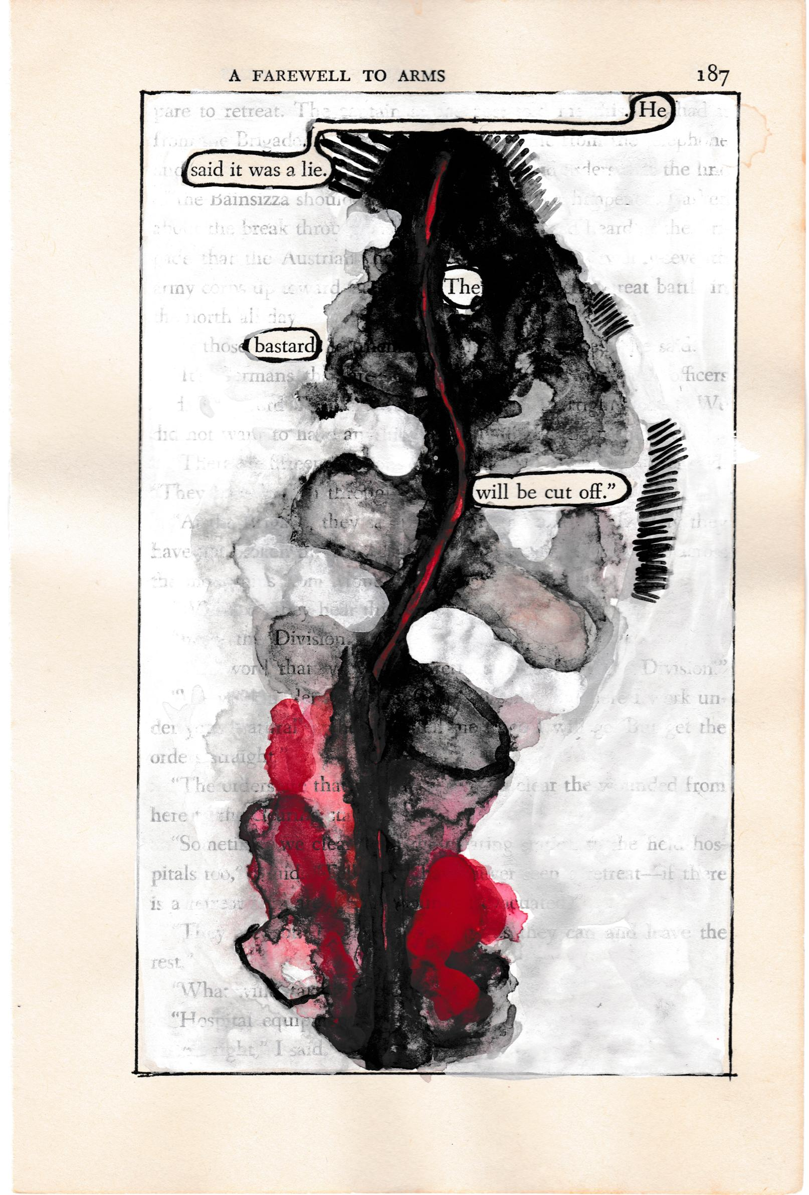 """""""#187 – HE SAID IT WAS A LIE"""", ink, pencil, gouache, found vintage book, poetry"""