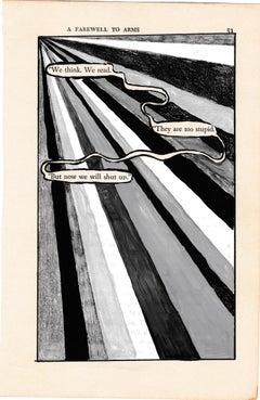 """#51 – WE THINK"", ink, pencil, gouache, vintage book page, hemingway, poetry"