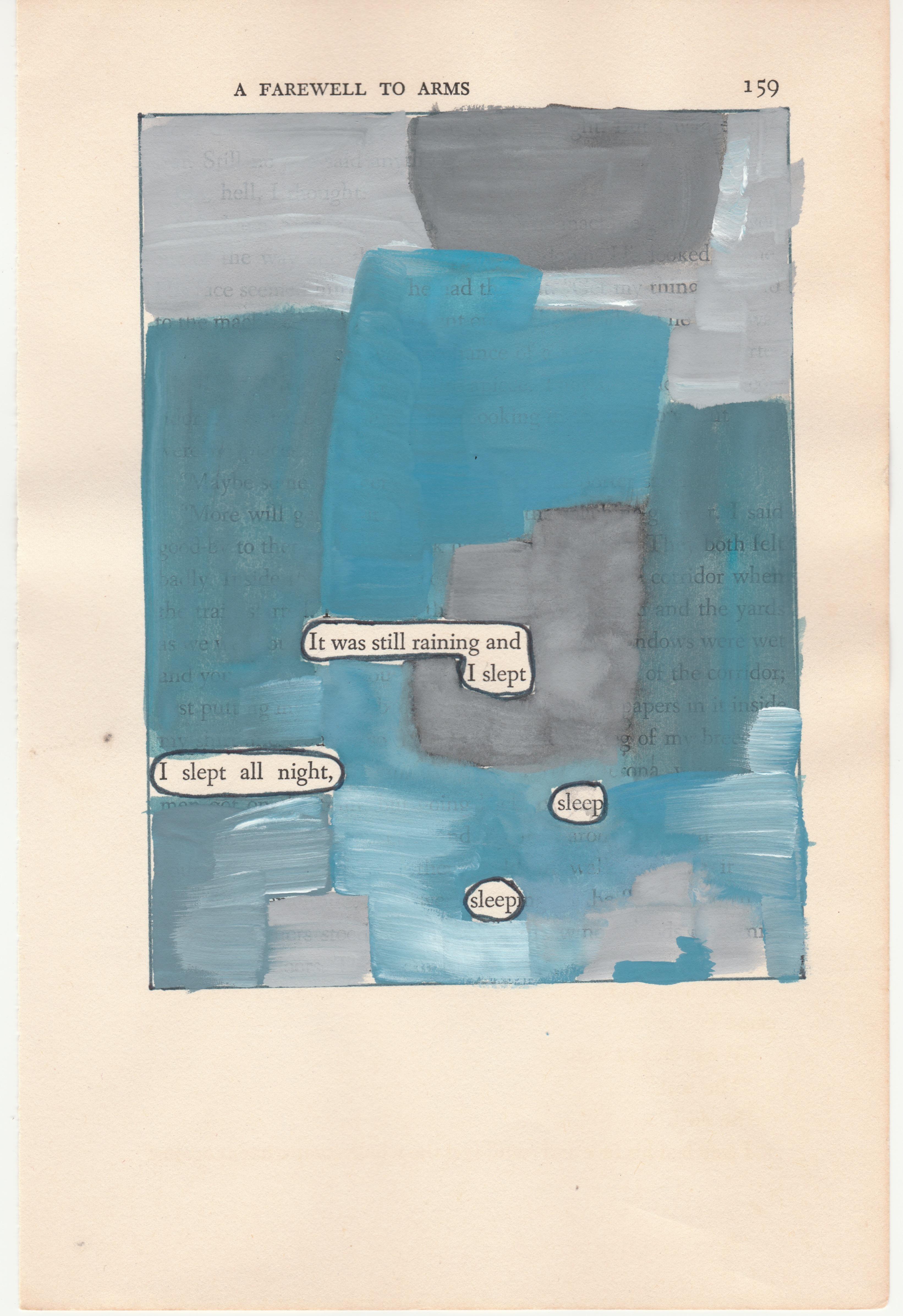 """""""#159 – SLEEP"""", ink, pencil, gouache, vintage book page, hemingway, poetry"""