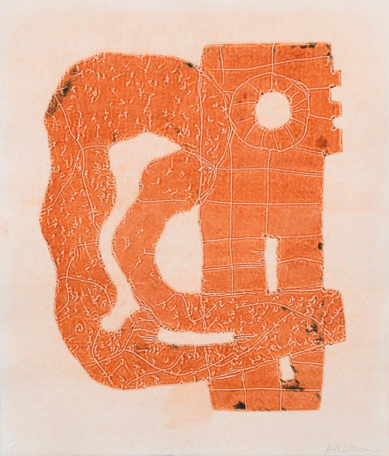 """PROPOSITION"", hand-tooled aluminum intaglio print, abstract, monotype, framed - Mixed Media Art by Harold Wortsman"