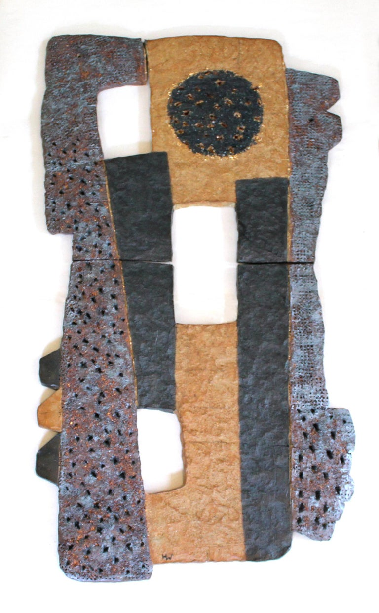 """Harold Wortsman Abstract Sculpture - """"THE CIRCUS MAN'S DREAM"""", sculpture, fired clay, relief, abstract, contemporary"""