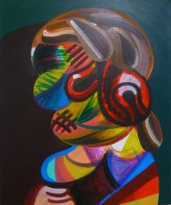 """Rembrandt Woman"", acrylic painting, portrait, abstract, cubism, classic pose"