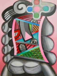 """Woman in Pink, Blue, and Gray"", acrylic painting, cubist portrait, classic pose"