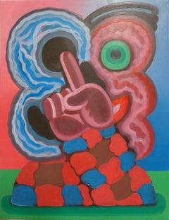 """""""Open Face"""", oil paint, portrait, face, mask, finger, eye, clown, skull, humor"""
