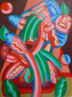 """""""Overflow"""", acrylic painting, abstract cubist, appetite, kinetic, stimulation"""
