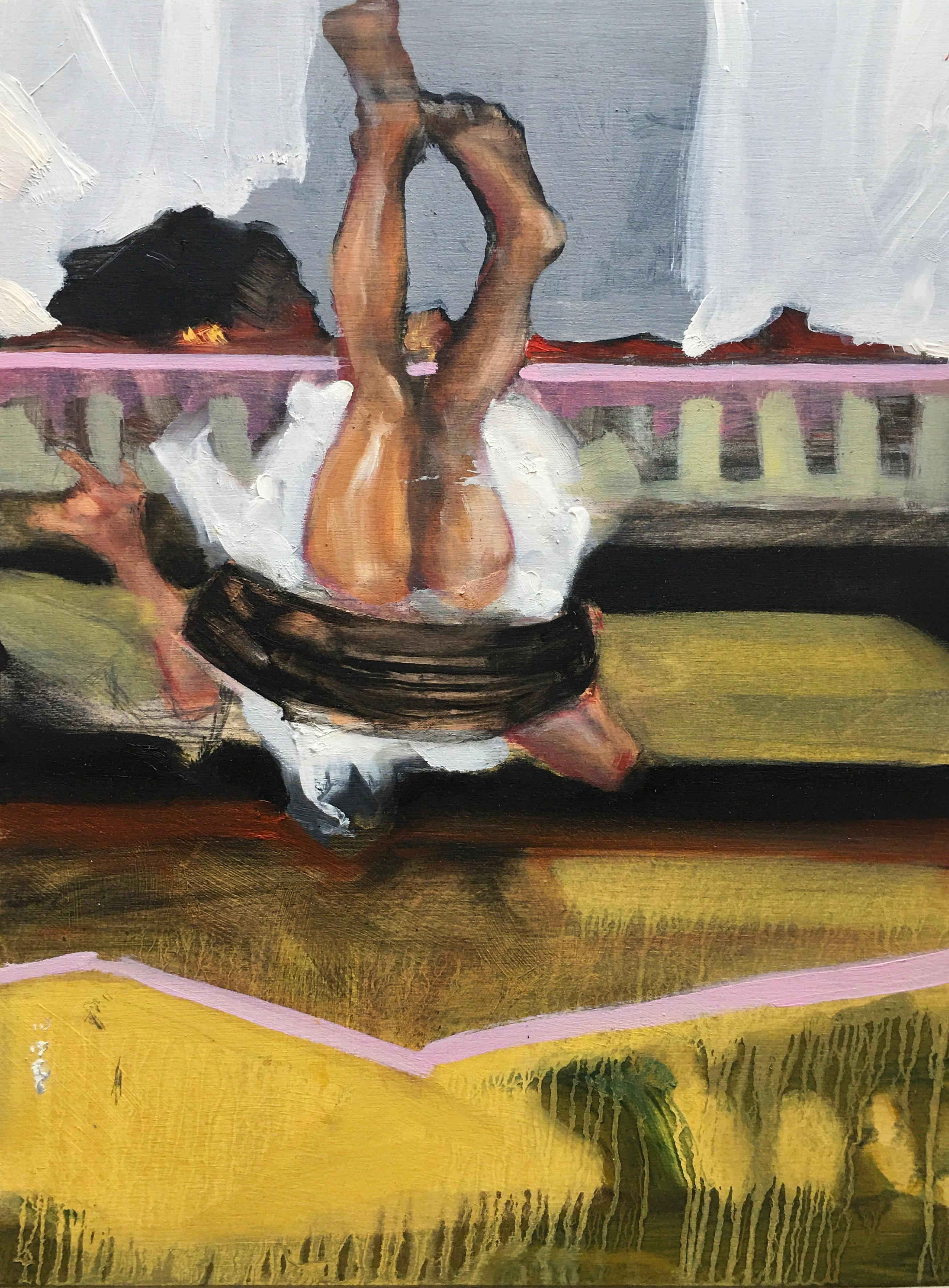 """Swing"", oil painting, figurative, play, barefoot, yard, upside down, legs"