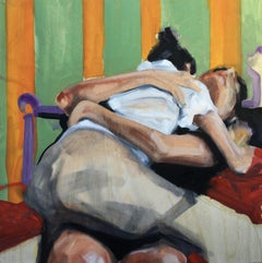 """The Clinch"", oil painting, figurative, couple, embrace, intimacy, stripes, hug"