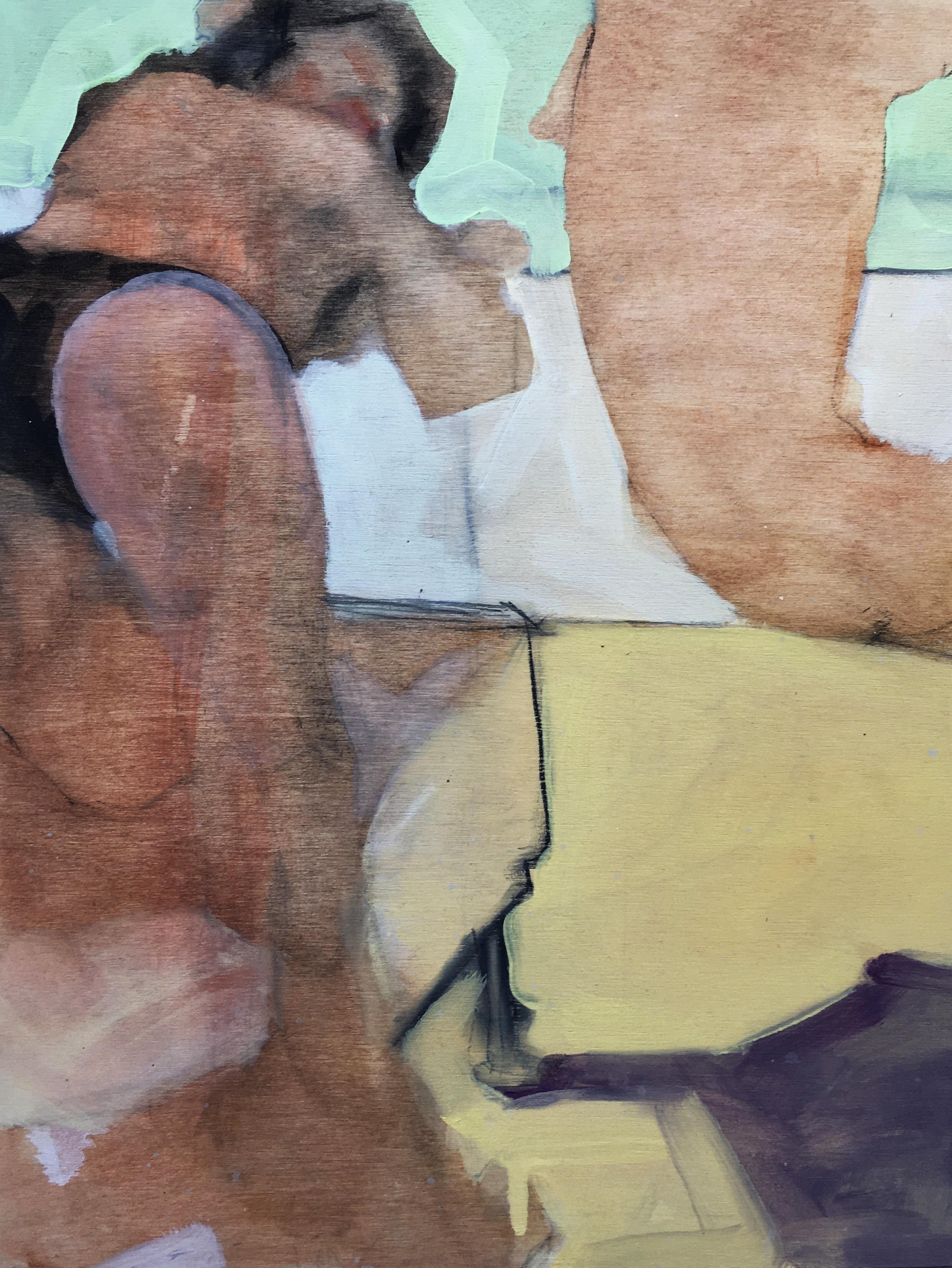"""Man Overboard"", oil painting, figurative, man, woman, bikini, recline, gaze"